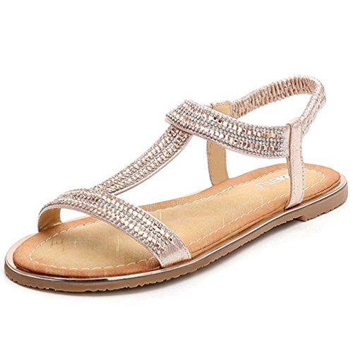JRenok Damen Glitter Thong Flach Sandalen Elastische Knöchelriemen Gladiator Römische Sandale Casual Sommer Strandschuhe