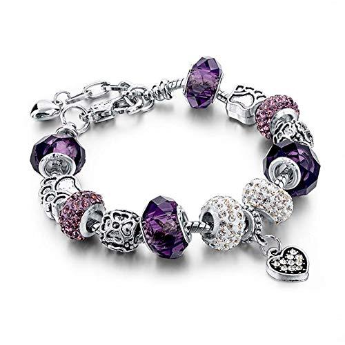 HFLGKLO Blue Crystal Beads Charm Armbänder & Armreifen Jóias Pulseira Do Vintage Pulseiras Para As Mulheres de cor prata -