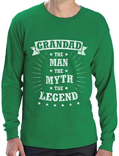 Grandad The Man The Myth The Legend - Geschenk für Großvater Langarm T-Shirt Grün