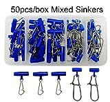 Shaddock Fishing Robuste Sinker-Wirbel mit ineinandergreifendem Reißverschluss und Edelstahl-Knöpfen für Angeln Rigs Angelzubehör, 50pcs/Box Mixed Sinker Slides, 50pcs/Box