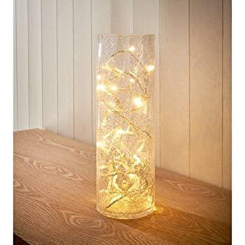 New Unique Superb Design Room Decoration Crackle Glass Vase 40 Led