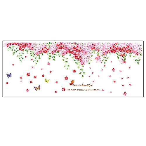 Preisvergleich Produktbild Pingxia Kirschbaum Blüte Wandtattoo Schmetterlinge Wandaufkleber Abnehmbare Wandsticker für Kinderzimmer Schlafzimmer Wohnzimmer