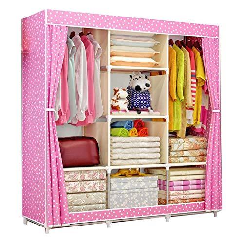 Armadi pieghevolier yhz@ struttura in acciaio di spessore semplice grande armadio, armadio economico tessuto domestico (colore : b)