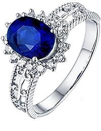 TREESTAR Anillo de plata de ley con circonita azul y diamante, diseño hueco, para hombres y mujeres, amor romántico anillo de cristal para novia, el mejor regalo, Aleación, azul, 9#