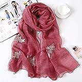 TIANLU Maulbeerseide Schal für Frauen Luxus Geschenke für Damen 100 Wird Seide Maulbeerseide Mädchen, Blätter Rot, 180 * 90