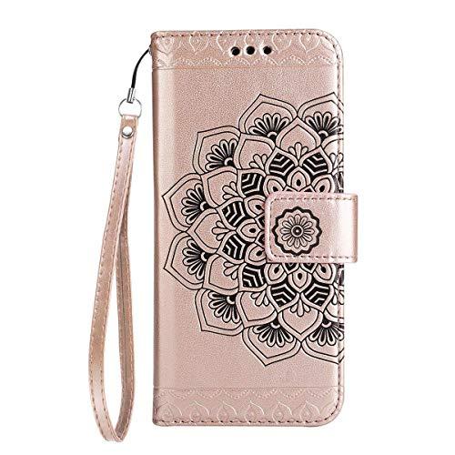 Yheng iPhone 7 Plus/8 Plus Coque, Fleur Imprimé Étui Folio à Rabat Housse Cuir Portefeuille Magnétique Wallet Case avec Porte-Cartes Fonction Stand Flip Livre Coque pour iPhone 7 Plus/8 Plus,Or Rose