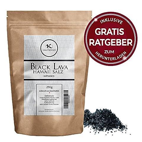 Hawaii Salz Black Lava Meersalz 250g | schwarzes Dekorsalz inkl. gratis Ratgeber | naturbelassenes grobes Natursalz | Salz zum dekorieren und kochen