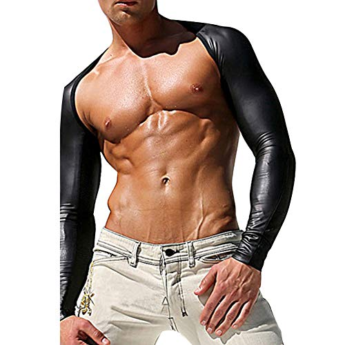 ZGZXD Männer sexy Dessous Enges Langarmhemd, Unterhemden für Männer, Unterhemden, Lederunterwäsche, Nachtclub-Kleidung, Gay-Wildtanz-Tanz-Anführer,L (Anführer Kostüme Männer)