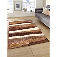 Story at Home Polyester Modern Anti Skid Carpet, Brown, 91cm X 152cm, Cp1419