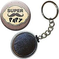 Cadeau SUPER PAPY PAPI PORTE CLÉS CHAÎNETTE 38mm