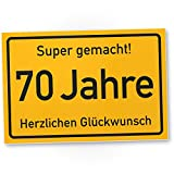 DankeDir! 70 Jahre Stadtschild/Kunststoff Schild - Geschenk 70. Geburtstag, Geschenkidee Geburtstagsgeschenk Siebzigsten, Geburtstagsdeko/Partydeko / Party Zubehör/Geburtstagskarte
