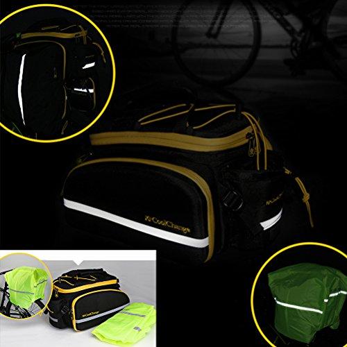 Aosbos Multifunktionale Gepäckträgertasche Fahrradtaschen mit Reflektorstreifen, 33,5 x 26 x 23 cm, 12 Liter Schwarz