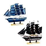 Sharplace 2pcs Nautische Schiffsmodell Piratenschiff Schiff Modell für Tischdeko Oder Kindegarten