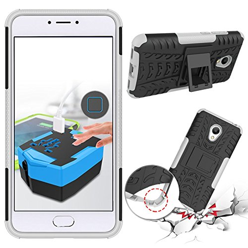 Chevron Tough Hybrid Armor Back Cover Case with Kickstand for Meizu M3 Note (White)  available at amazon for Rs.145