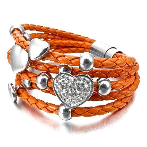munkimix-edelstahl-glas-leder-armband-armreifen-orange-silber-ton-herz-magnet-schliesse-verschluss-d