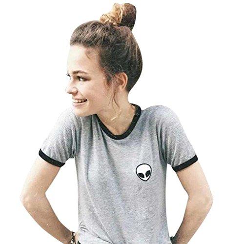 Sannysis Aliens stampa 3d raccolto T-shirt manica corta cime delle donne (grigio, M)
