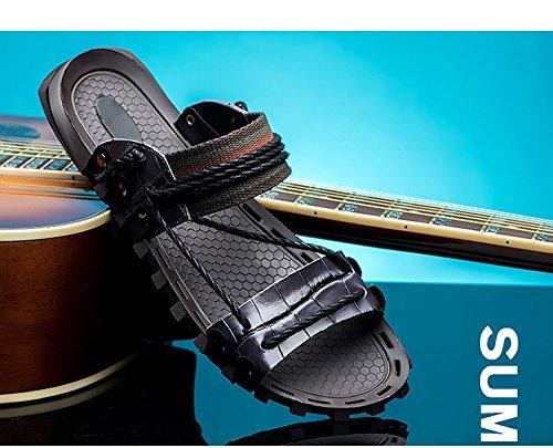Sandali di estate sandali degli uomini sandali della pelle bovina sandali freddi sandali scarpe da spiaggia antiscivolo, nero, UK = 8.5-EU = 42 2/3 UK=9.5-EU=44