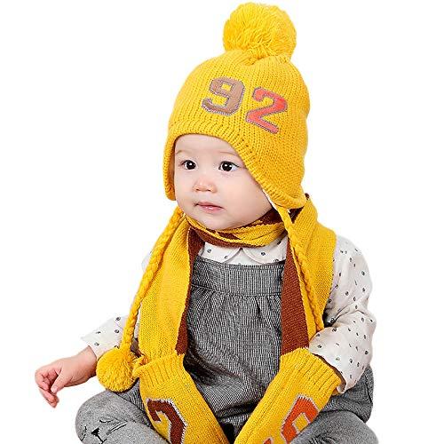 Chapeau Enfant ADESHOP Mode Enfants GarçOn Fille Hiver Chaud ÉPaissir BéBé  Chaud Gants Chapeau Bonnet De 989956be83b