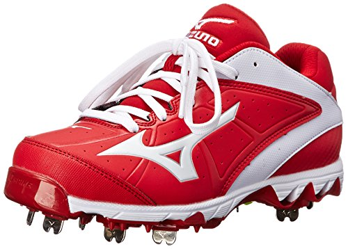 Mizuno Damen 9 Spike Swift 4 Fast Pitch Metall Softball Keil, Rot (rot/weiß), 43 B(M) EU (Football Schwarz Und Rot Cleats)