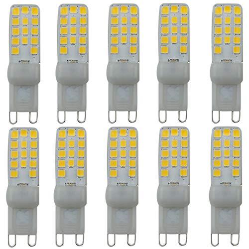 Lampadina LED G9 3W Equivalente 40 W G9 2835 28 LED Bianco caldo 3500K 200 Lumen AC 220 V Risparmio energetico 2835SMD (confezione da 10) [Classe energetica A +]