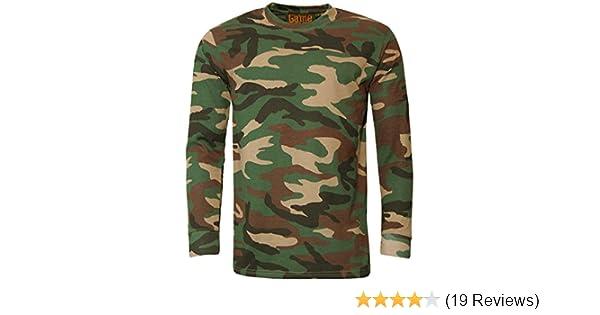5e089667c667 Game Mens Woodland Camo Long Sleeve Crew T Shirt: Amazon.co.uk: Clothing