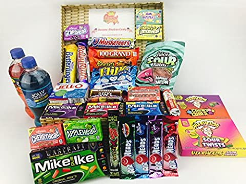 American Sweet and Soda Hamper - Great Candy and Soda hamper for all American Sweet Lovers , comes in a wicker effect box - NL315