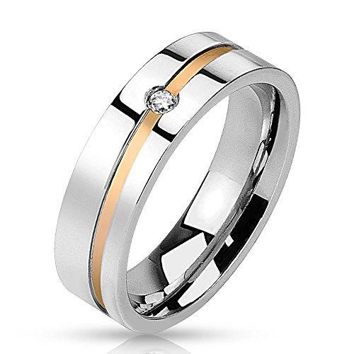 Bungsa 64 (20.4) Ring Damen Silber-Rosegold - EDELSTAHLRING für Damen & Herren mit Kristall-Stein - Silberner Damenring/Herrenring mit Rosé-Goldener Linie Diagonal - Verlobungsring