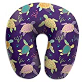Vidmkeo Sea Turtles And Algae Neck Head Support Travel Rest U Shaped Pillow for Airplane Train Car Bus Office