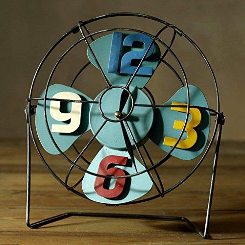 HLL DRM Fan Clock Retro Eisen Ornamente Nostalgische Metall Handwerk American Coffee Shop Shop Bar Personalisierte Dekorationen (Gelb),Blau -