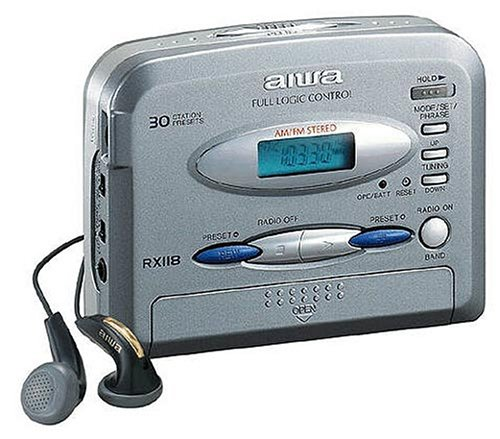 Aiwa HS-RX118 tragbarer Kassettenspieler mit Radio silber (Aiwa Radio)