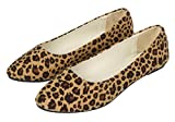DADAWEN Damen Ballerinas Mädchen Loafers Schuhe Flache Leopard Slippers Braun