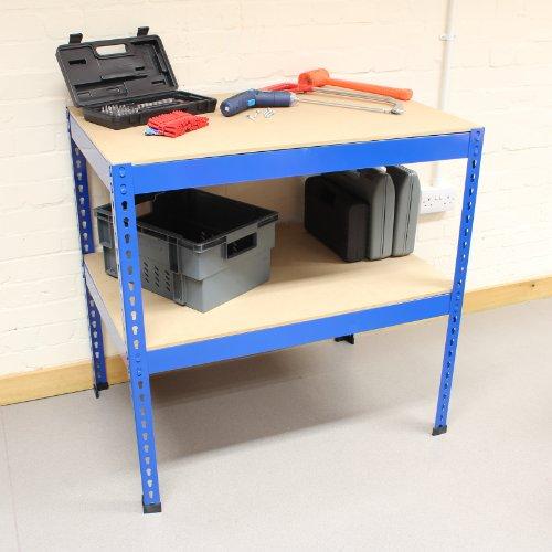Hardcastle 90cm Stahl-Werkbank mit 2 Regalen - blau - Stahl Werkbank