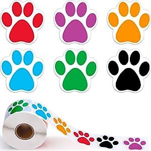 Eine Rolle von 600 Stücke Hunde Pfoten Druck Aufkleber Bärentatze Etiketten Aufkleber, 1,5 Zoll (Gemischte Farbe)