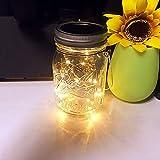 cuitan LED Solarleuchten Mason Jar Licht, Glasgläser Garten Hängeleuchten, 20 LED Wasserdichte Lichterkette Außen für Party, Weihnachtsferien, Hochzeitsdekoration(Warmweiß) - 1 Pack