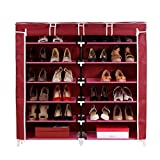 #5: House of Quirk 6-Tiers 2 Rows Doors Shoe Rack with Dustproof Cover Closet ,36-Pair Shoes Rack Storage Cabinet Organizer(Maroon)