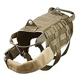 Generic Tactical Military K9 MOLLE-Geschirr für Hunde, Militär, Deutscher Schäferhund, Tarnmuster, Khaki, Schwarz