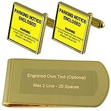 Pena de aparcamiento aviso Tono Oro gemelos Money Clip grabado Set de regalo