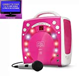 from The Singing Machine PINK Portable Karaoke Machine & CD Player - PARTY PACK 1 (1 Mic + 3 karaoke CDs) Home Disco Party Light - Girls wired karaoke microphone + 56 Karaoke SONGS (3 CD  S) CDG + Format (Connect to a TV to display lyrics from CD) - Echo - Auto Voice Control + AUX IN: Connect MP3 player, iPhone, iPod etc (use as a speaker, inc iPod holder) by The Singing Machine (Party Pack No 1, PINK) Model AS-547015 (SML-283P Party Pack 1)