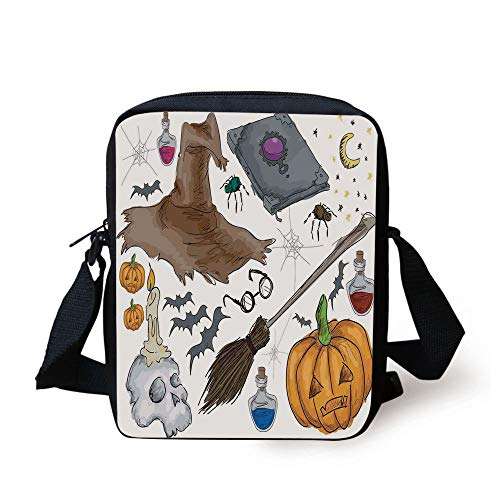 Halloween Decorations,Magic Spells Witch Craft Objects Doodle Style Grunge Design Candle Skull,Multi Print Kids Crossbody Messenger Bag Purse