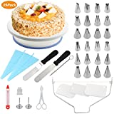 CPMICL Cake Turntable, Cake Decorating Supplies, Torta rotante, Cake Decorating 24 Piping Ugelli Roating Cake Turntable, Cake Leveler con 2 PZ Spatola glassaIcing, Smoother, Pasticceria Bag, Cake Syring, Cutter, Flower Lifter