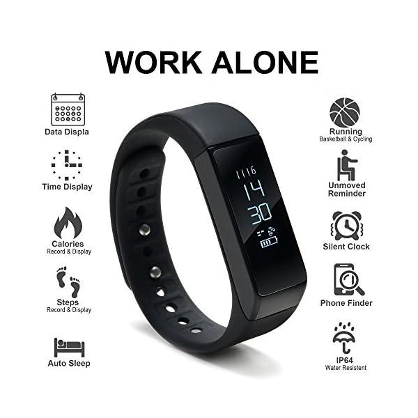 WADEO Fitness Tracker, Pulsera de Actividad Smart Bluetooth Pulsera podómetro Smart Bracelet Sleep Monitor, Reloj de Actividad Impermeable con Banda de reemplazo para Android y iOS (Negro-2) 3