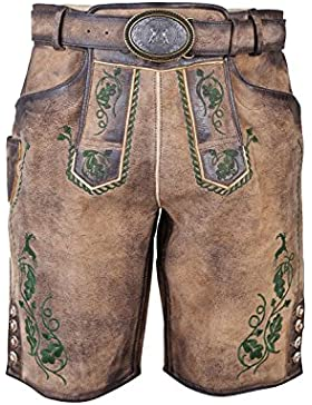 Michaelax-Fashion-Trade Krüger - Herren Lederhose in Braun/Grün, Wildhüter (92646-705)