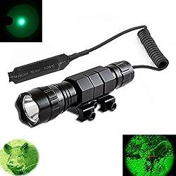 Windfire Tac résistant à l'eaulumière verte LED Coyote Hog Fusil de chasse tactique lampe de poche avec interrupteur de pression et fusil Mont Picatinny AR Rail support (batterie non inclus)