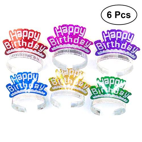 YeahiBaby 6 stücke Geburtstag Crown Hüte Glitter Party Papier Hüte DIY Handwerk Hut für Kinder Erwachsene (Farbe Sortiert)