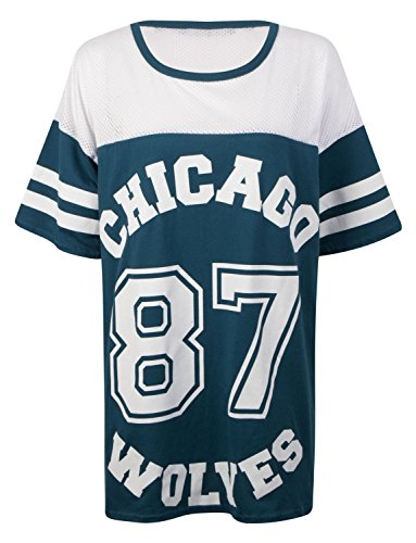 Fast Fashion - Baggy Manches Courtes Chicago 87 Loups Print Résille Top Oversize - Femmes Turquoise