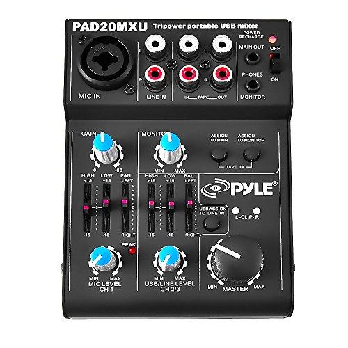 Pyle Channel mixer audio professionale compatto 5 canali Standard Nero
