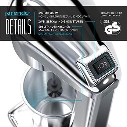 Arendo-Drink-Mixer–Getrnkemixer–elektrischer-Standmixer–Shaker-500-ml-Becher-100-W-22000-Umin-2-Geschwindigkeitsstufen-Protein-Drinks-Smoothies-Eischnee-Milchshakes-Cocktails-GS