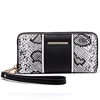 Xardi London Snake Print Single Zip Around Large Wristlet Women Wallet Faux Leather Coin Pouch Card Slots x 8 Inner Compartment Wallet For Ladies
