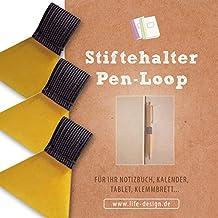 3 Stk Stifthalter, Stiftschlaufe, Pen-Loop, Pen-Holder selbstklebend für Notizbuch, Kalender, Klemmbrett, schwarz, transparentes Klebepad
