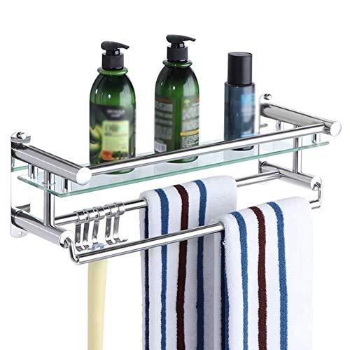 Zhanwei bad regal dusche organizer wand handtuchhalter gehärtetem glas 1/2/3 etagen punch, 3 größen (farbe: 1 tier, größe: 40 cm) Badezimmer Regale - 3-tier Bathroom Regal